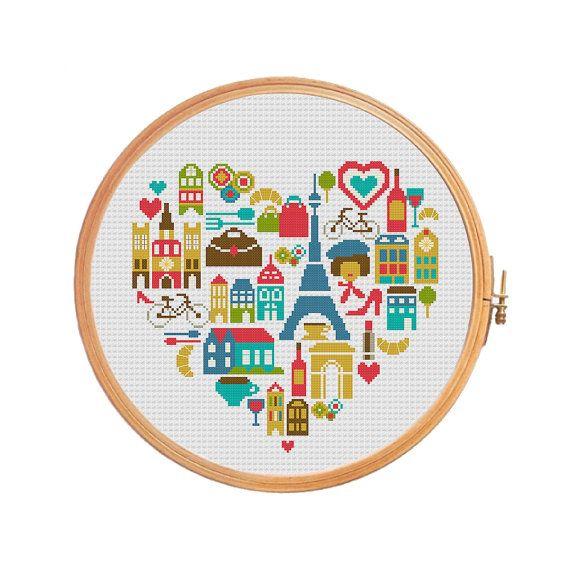 Paris heart sampler France cross stitch pattern - Eiffel tower Louvre arc de Triomphe curasan Notre Dame street cafe wine. Announcement