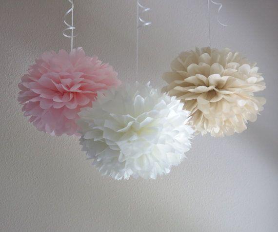 Wedding Pom-Poms - Romantic Blush Paper PomPoms by Pretty with SprinklesBachlorette Decorations, Birthday Pom Pom, Baby Shower Wishes Hanging, Paper Pom Pom, Birthdays, Paper Pompom, Bridal Showers, Romantic Blushes, Blushes Paper