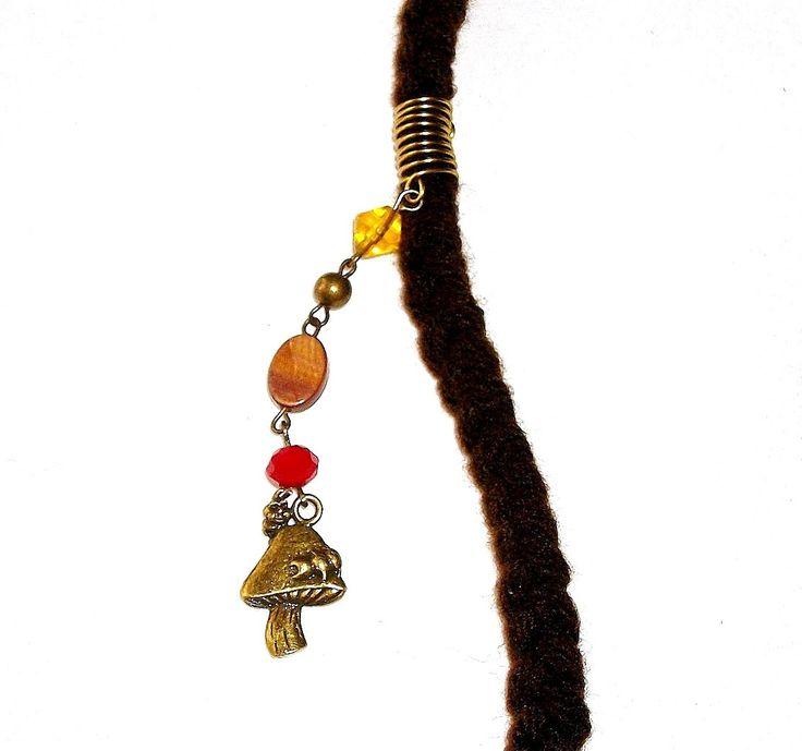 Dreadlock Jewelry - Antique Gold Mushroom Charm Loc Jewel by TumbleGems on Etsy