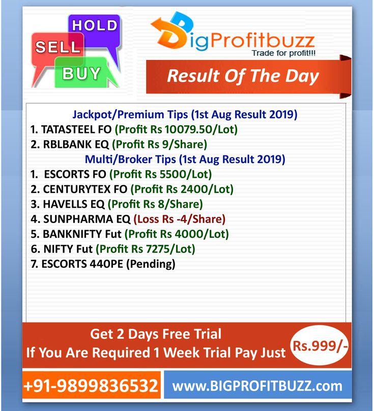 Bigprofitbuzz Stock Market Tips Result 1st Aug 2019