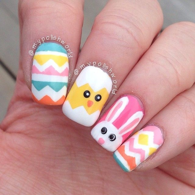 awesome Had to do some colorful easter nails! I think they - mypolishworld @ Instagram W...
