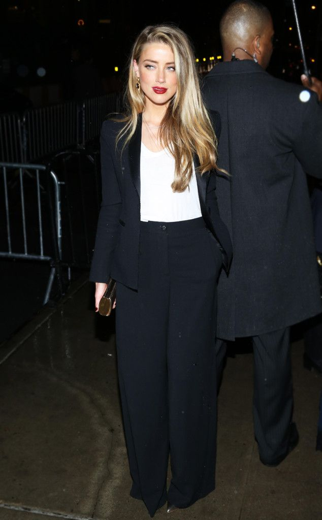 Amber Heard from Met Gala 2016 After-Parties: What the Stars Wore  In black trousers and blazer with white top
