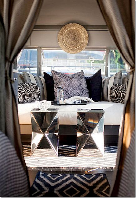 image: Side Tables, Horns, Style, Interiors, Living Room, Camps, Airstream Dreams, Airstream Trailers, Vintage Campers