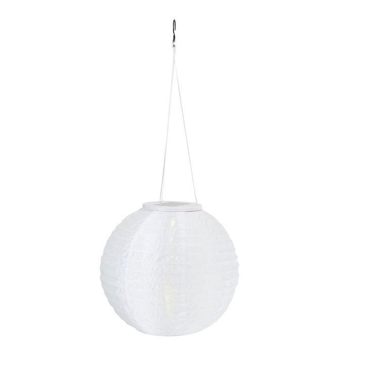 Blooma Meres White Solar Powered LED Lantern | Departments | DIY at Bu0026Q