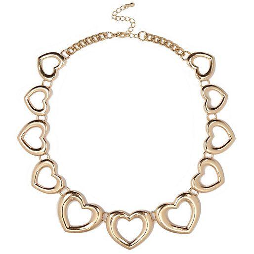 Gold tone heart repeat necklace #riverisland