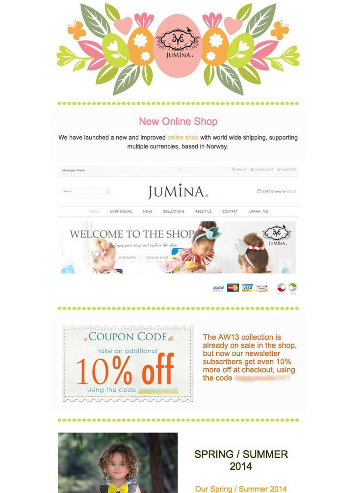 Subscribe to our Newsletter to get coupon codes and be updated on sales and new arrivals. The Easter newsletter is out now! www.jumina-shop.com/newsletter #jumina #newsletter