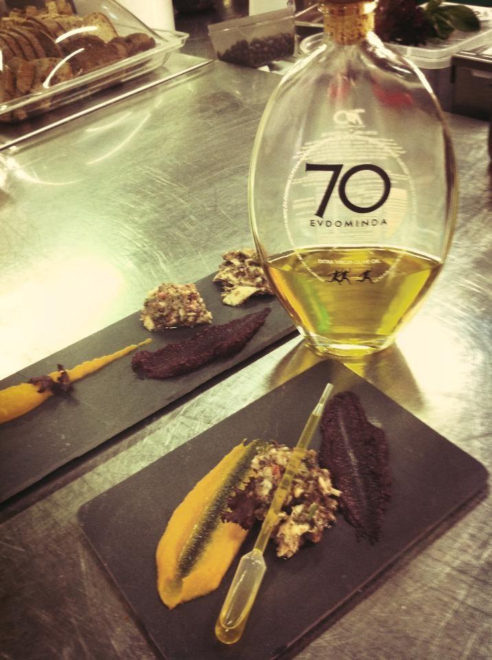 Fish-beetroot-mushroom-carob/carot with olive oil evdominda — with Evdominda Merblong from Vasilis Leonidou