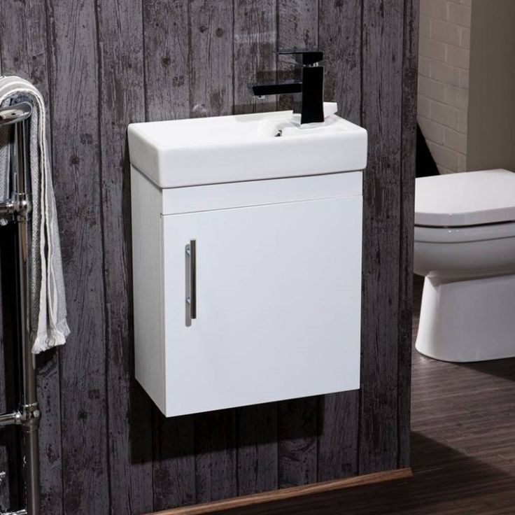 Maisie Compact Wall Mounted 400mm Cloakroom Vanity Unit & Basin - White Gloss
