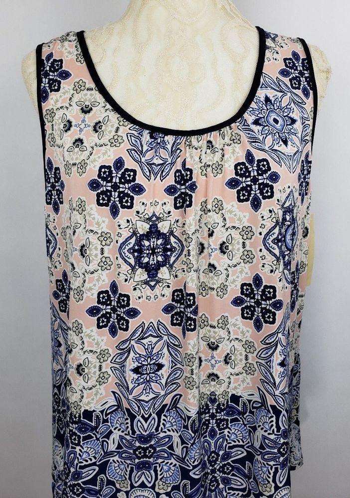 9a514e2b16b51 Lavish Womens Plus Size 1X Pink Blue Sleeveless Floral Print Open Back Top  NWT  Lavish  Blouse  Any