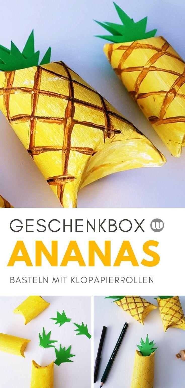 DIY Geschenkverpackung aus Klopapierrolle basteln: Ananas & Melone
