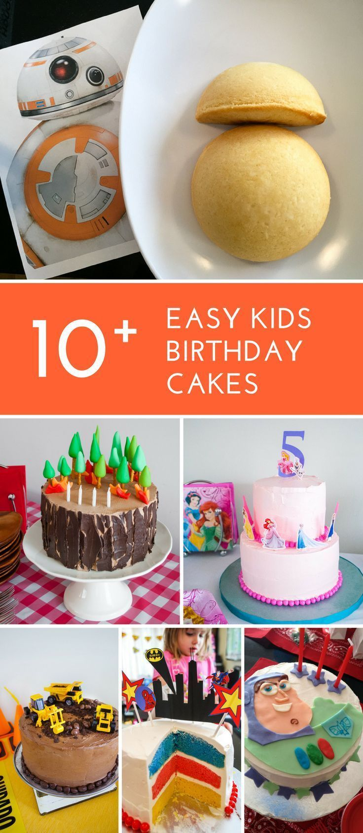 10+ easy birthday cakes for kids! Easy kids cakes for beginner cake decorators. Includes Toy Story cakes, LEGO birthday cakes, Super Heroes cakes, Princess birthday cakes, Airplane birthday cakes, Star Wars cakes, and more! | Birthday cakes for boys | Birthday cakes for girls | #birthdaycakes #kids #cakes #birthday
