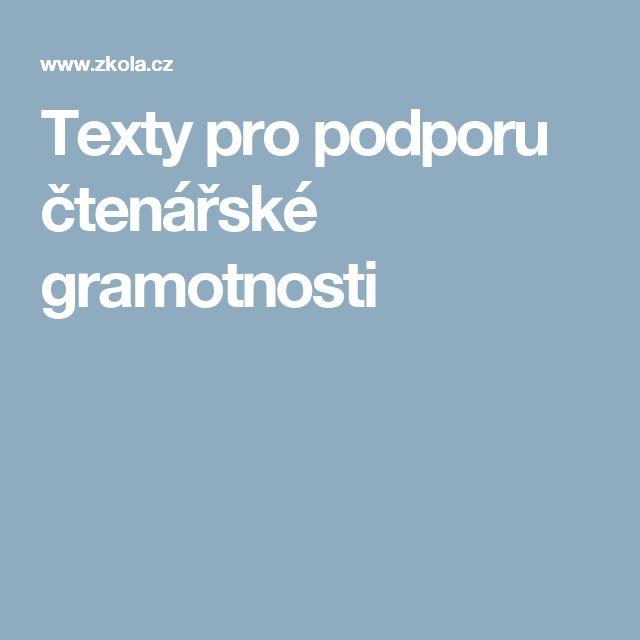 Texty pro podporu čtenářské gramotnosti
