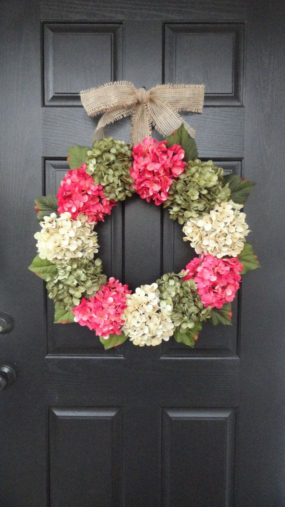 """Large, Full, Customizeable Hydrangea Door Wreath for Spring and Summer, 24"""" Wreath"""