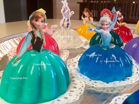 Gelatina de princesas ,Elsa o Anna en 3 leches Y berry blue . - YouTube