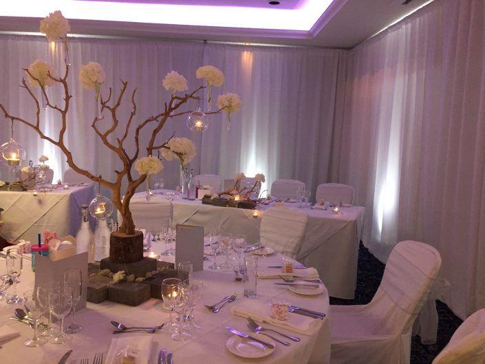 Solent Hotel & Spa – Drapes, Uplighters, Dancefloor, LOVE, Backdrop, Aisle Runner……..