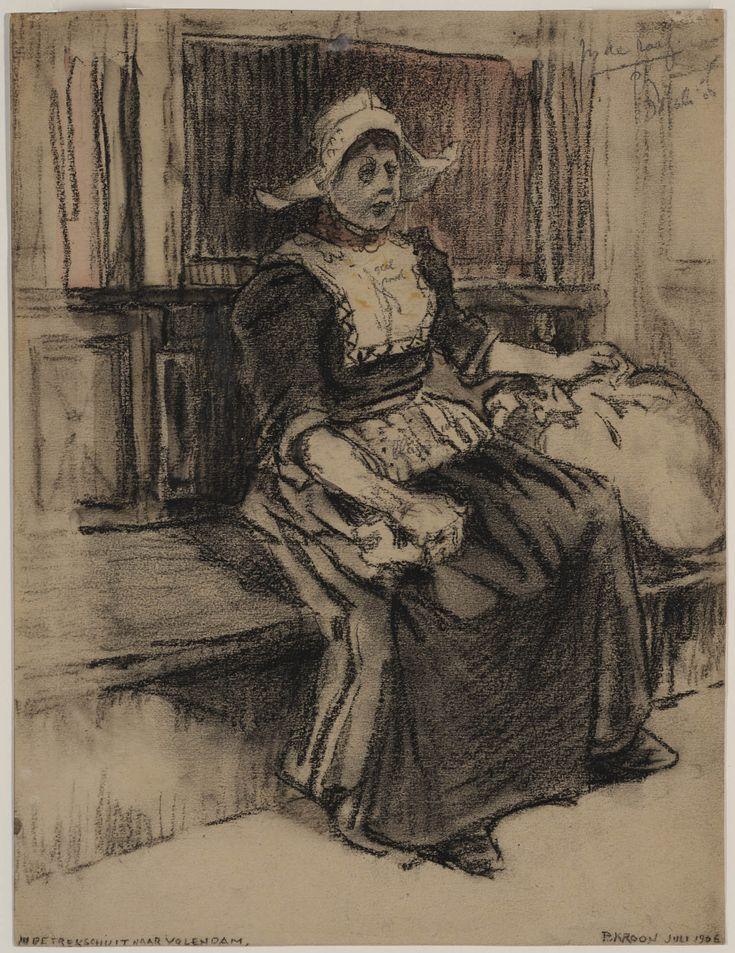 Vrouw in trekschuit naar Volendam, 1906 Patricq Heleen Joan Kroon Tekening (krijt?) met daarin enige kleur. Het betreft waarschijnlijk een voorstudie, aangezien in de tekening aantekeningen zijn gemaakt over kleuren. Zo staat op de kraplap bijvoorbeeld: 'geel rood'. #NoordHolland #Volendam