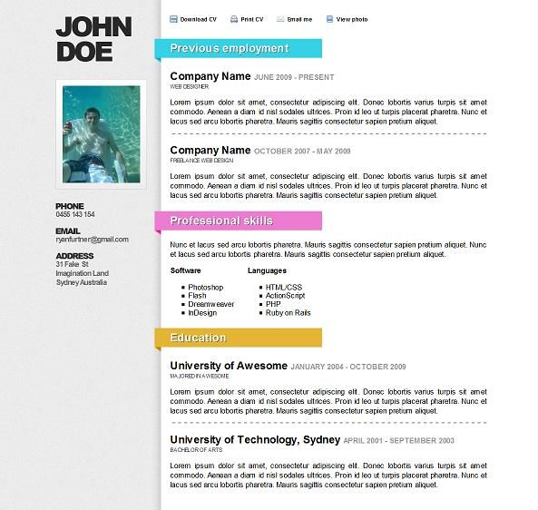 Best Resume Website about me section This Stylish Cv Website Template Includes A Working Contact Form With Validation Multiple Heading Colours