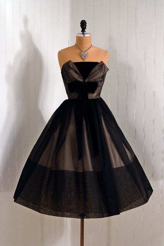 1950's Strapless Shelf-Bust Bow Black and Pink Chiffon Couture Rockabilly Circle-Skirt Cocktail Dress