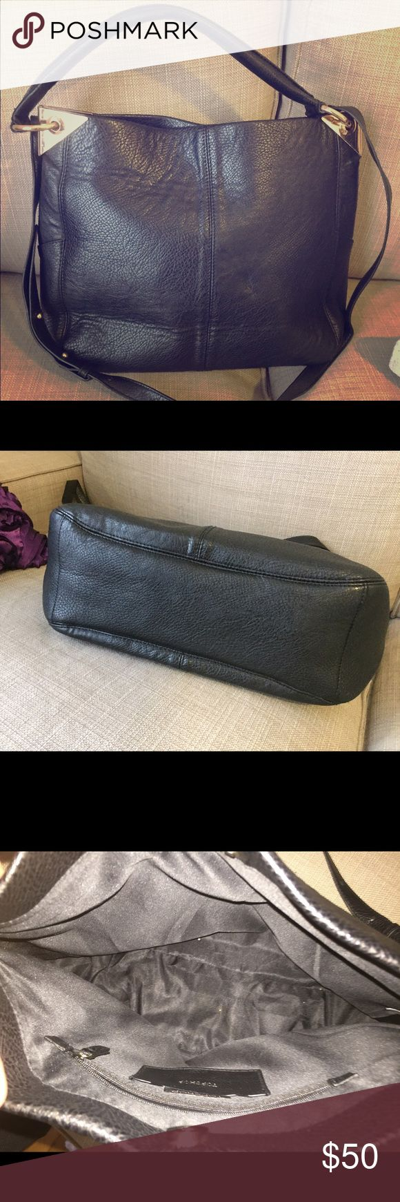 """Topshop Hobo Barely used Topshop purse! Black with gold metal details. Can wear over the shoulder or cross body. One inside zipped pocket. About 12"""" tall, 18"""" wide. Great everyday bag...Make an offer! Topshop Bags Hobos"""