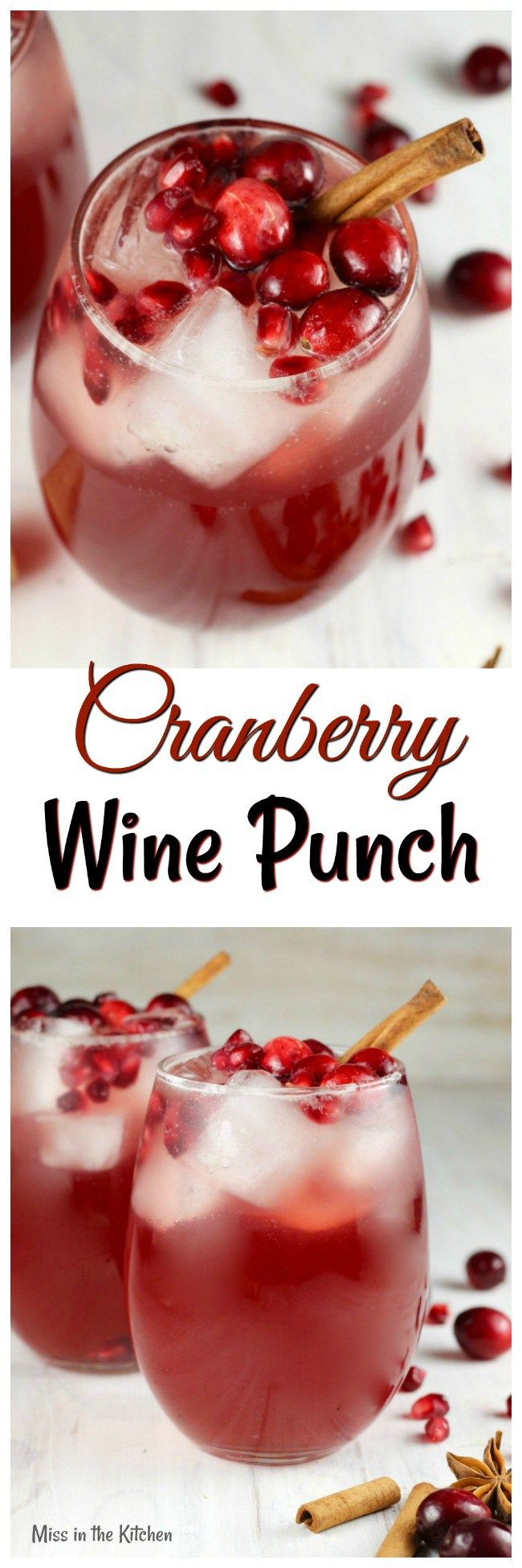 Cranberry Wine Punch Recipe ~ Easy large batch white wine coctail