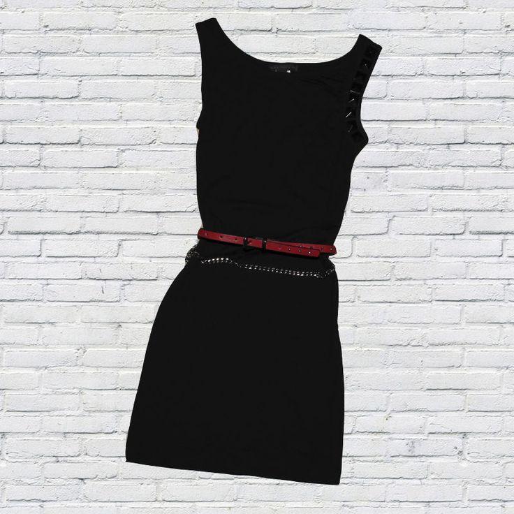 EBAY MANGO Vestido negro ajustado tachuelas black little dress tacks Size S 8 36