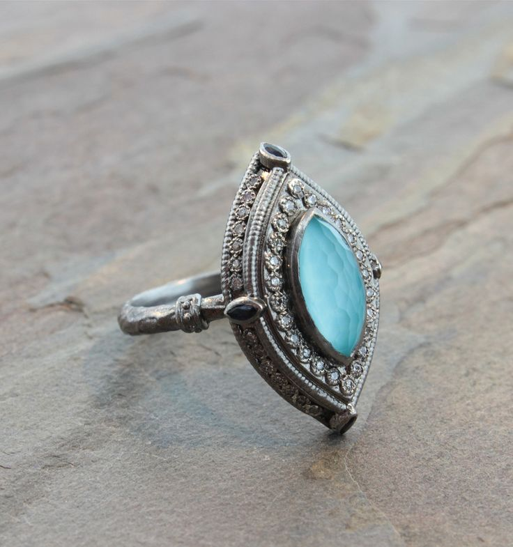 Armenta Green Turquoise & Opal Band Ring WvPQf