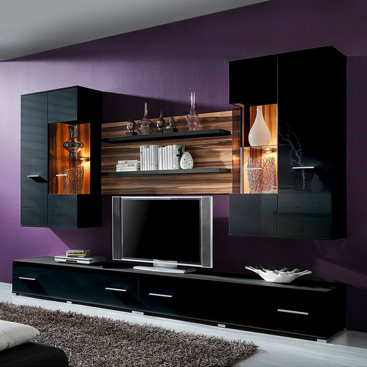 Die 25+ Besten Wohnwand Schwarz Hochglanz Ideen Auf Pinterest | Tv ... Wohnzimmer Nussbaum Schwarz