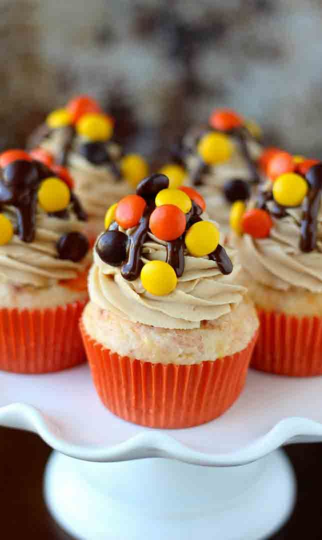 Reese's Pieces Cupcakes #cupcakes #cupcakeideas #cupcakerecipes #food #yummy…
