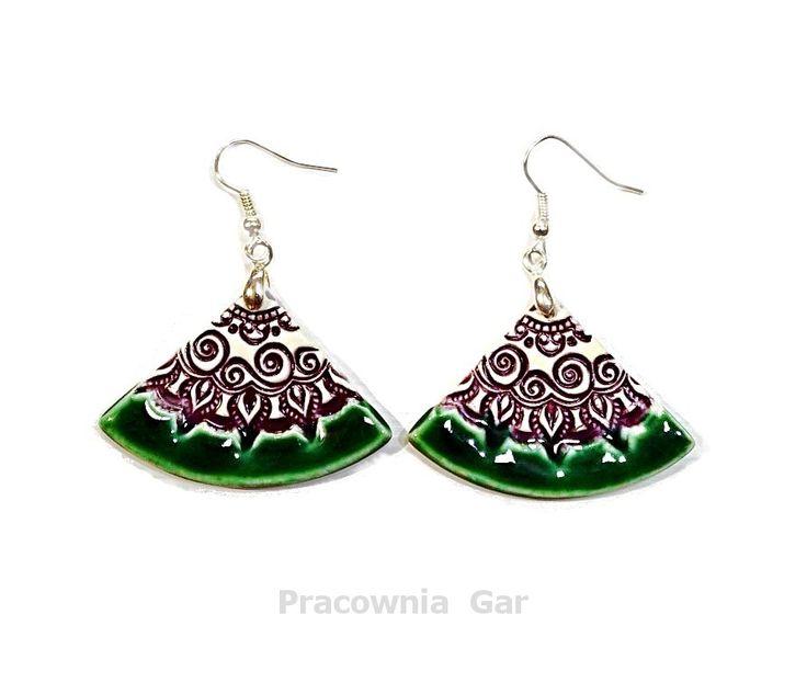 ceramic jewerly , green purple ceramic earrings, handmade , ceramic jewerelly