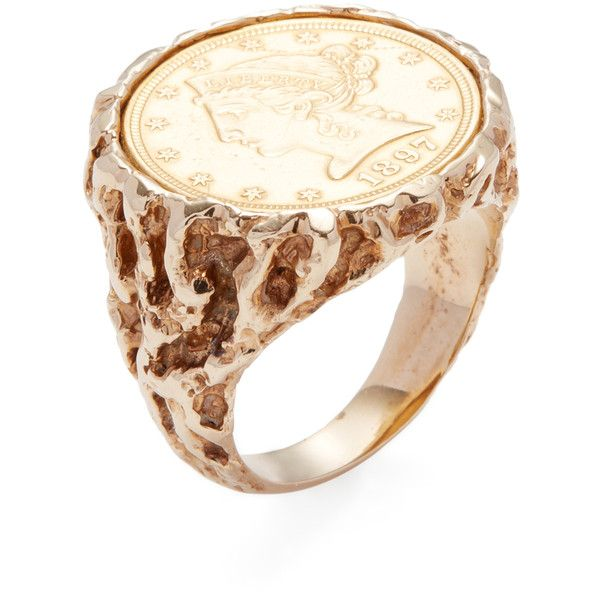 Estate Fine Jewelry Women's Vintage Yellow Gold Coin Ring - Gold -... ($1,775) ❤ liked on Polyvore featuring jewelry, rings, gold, coin ring, gold jewelry, vintage yellow gold rings, 14k ring and yellow gold rings