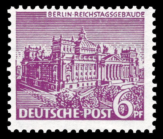 Deutsche Post Berlin 1949 Reichstagsgebäude Filatelia