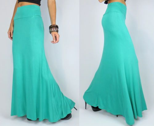 seafoam green maxi skirt mermaid flare bodycon