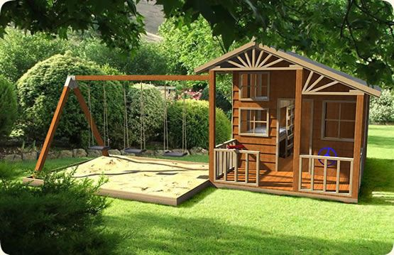 love the idea of the sandbox being under the whole swing set