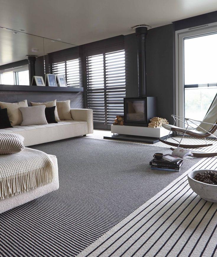 Best Monochrome Striped Carpet Stripes Lounge Black And White 400 x 300