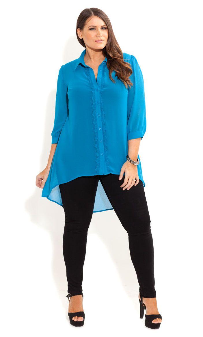 City Chic - SURPRISE BOW BACK SHIRT - Women's plus size fashion