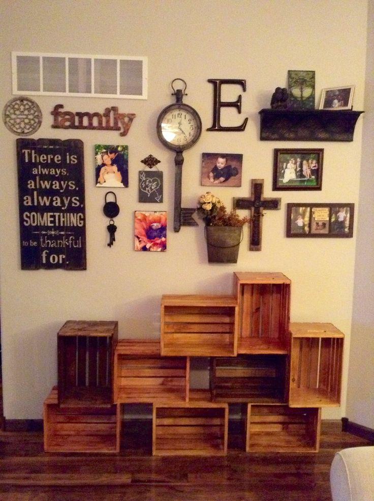 living room wall decorwood crate shelf - Pinterest Wall Decor