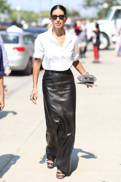 Perfect long leather black skirt.  Photos: Best-Dressed Street Style at New York's Fashion Week | Vanity Fair