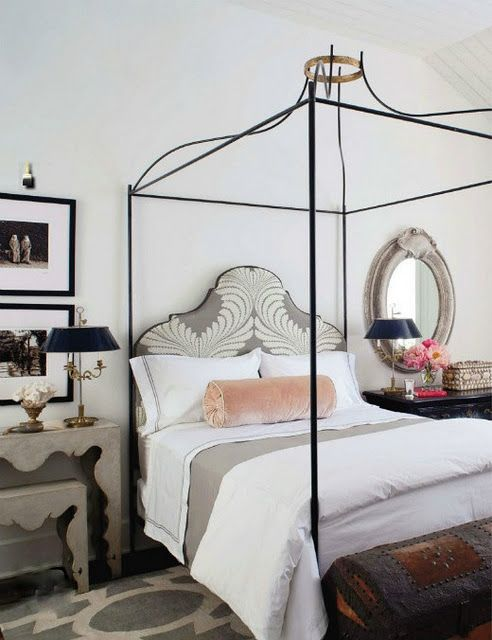 #bedroom I definitely like the bed, whatever those black rods and railings are made out of.