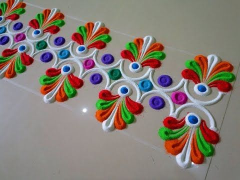 beautiful and multicolored peacock rangoli design by DEEPIKA PANT - YouTube