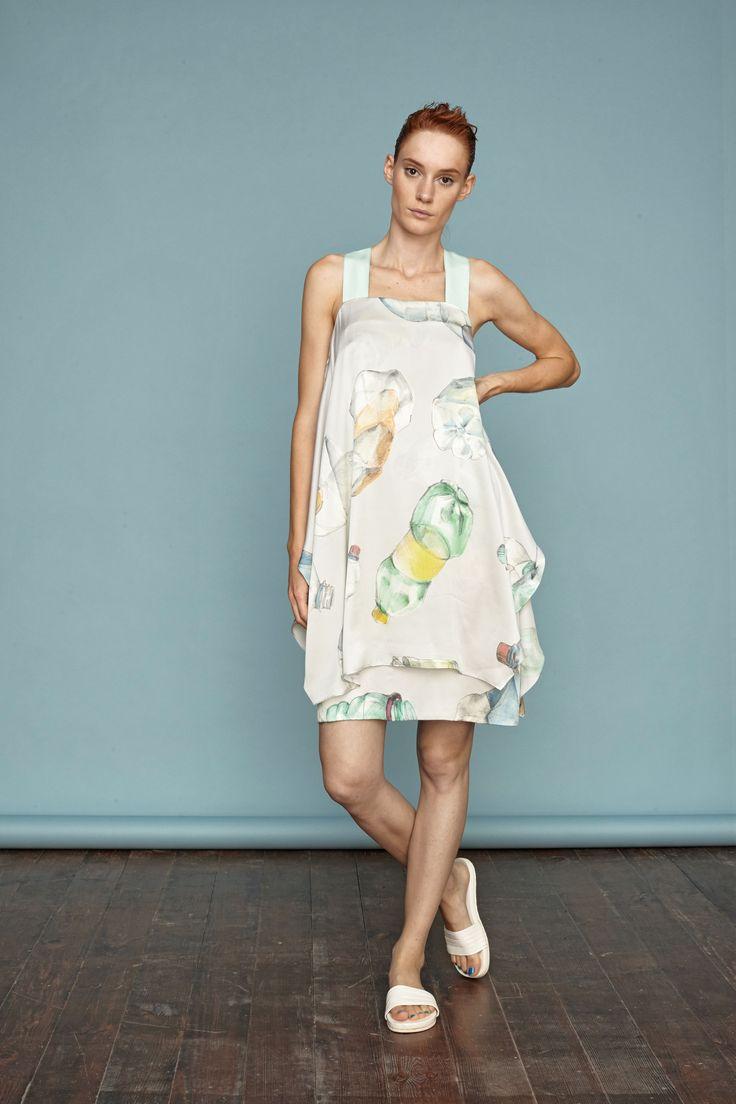 Hand-painted bottle print on layered silk dress from Dori Tomcsanyi. #doritomcsanyi #ss15 #lookbook #collection #handpainted