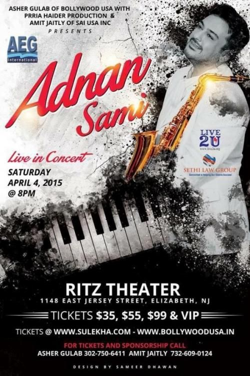 Live2U & Star Mantra presents Fastest Keyboard Player Adnan Sami Live in concert in New Jersey.  He is not only the Fastest Keybord Player in the world... he is also an Actor, Singer, Composer and above all the Heartthrob of millions Worldwide!!! The Singer of Some of the most Romantic Songs in the History Bollywood Music...  For more info, visit www.InstaEvents.com