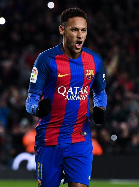 Neymar Jr. of FC Barcelona celebrates after scoring his team's second goal from the penalty spot during the Copa del Rey round of 16 second leg match between FC Barcelona and Athletic Club at Camp Nou on January 11, 2017 in Barcelona, Catalonia.
