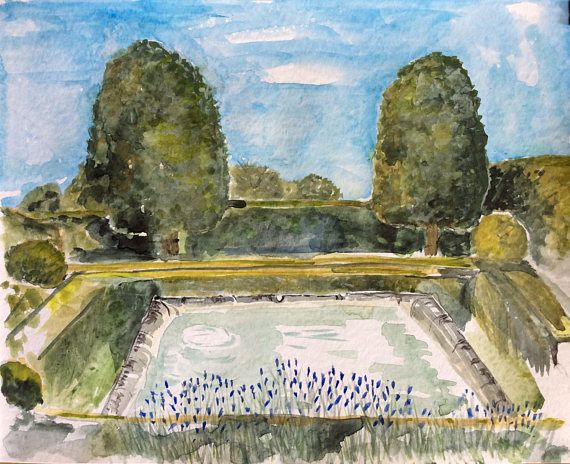 ORIGINAL WATERCOLOR PAINTING. French garden
