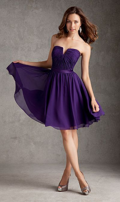 Size 8 Eggplant Angelina Faccenda 204210 Short Bridesmaid Dress- Short strapless Luxe Chiffon bridesmaid dress with satin waistband and notched neckline on the ruched bodice.