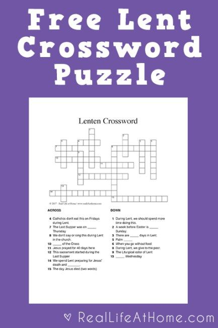 Best 25 crossword puzzles ideas on pinterest word puzzles free lent crossword puzzle printable for kids and teens ccuart Gallery