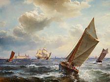C.F. Sørensen (1818-1879):  Brisk traffic in the Sound off Kronborg