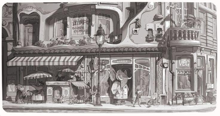 Zootopia Concept Art by Art Director Matthias Lechner copyright Walt Disney