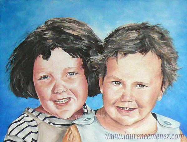 Portrait d'enfants réalisé en peinture à l'huile d'après photo.