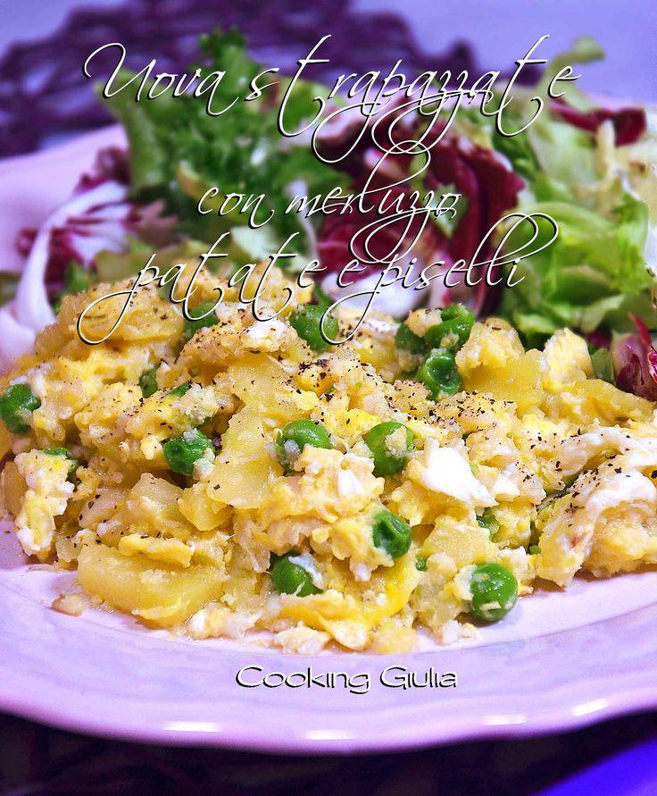Uova strapazzate con merluzzo patate e piselli
