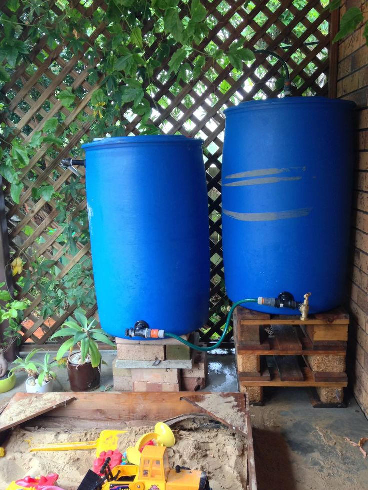 DIY rainwater connected tanks from reclaimed 220L plastic drums